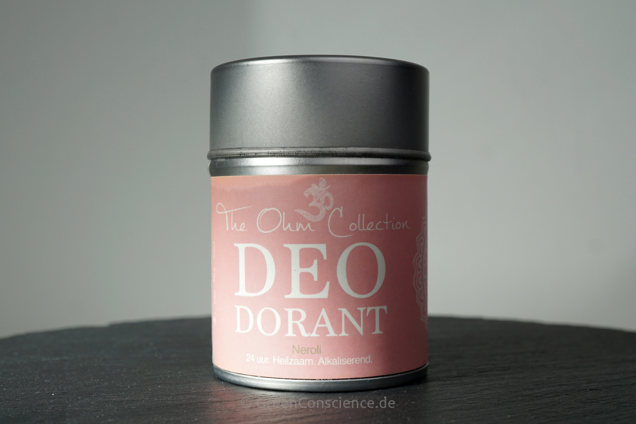 The Ohm Collection Deo Dorant Powder Neroli | Vorderseite der Metalldose