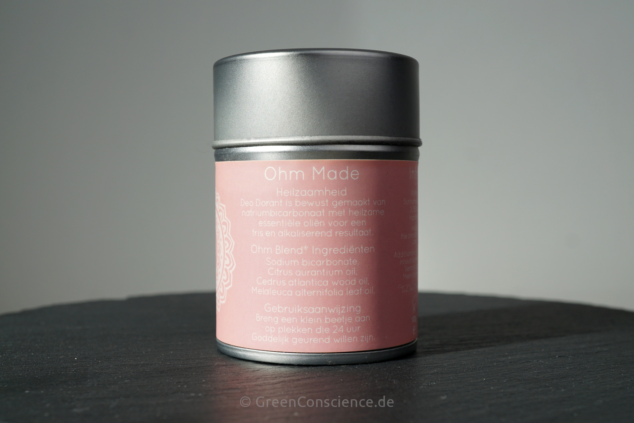 The Ohm Collection Deo Dorant Powder Neroli | Rückseite der Metalldose