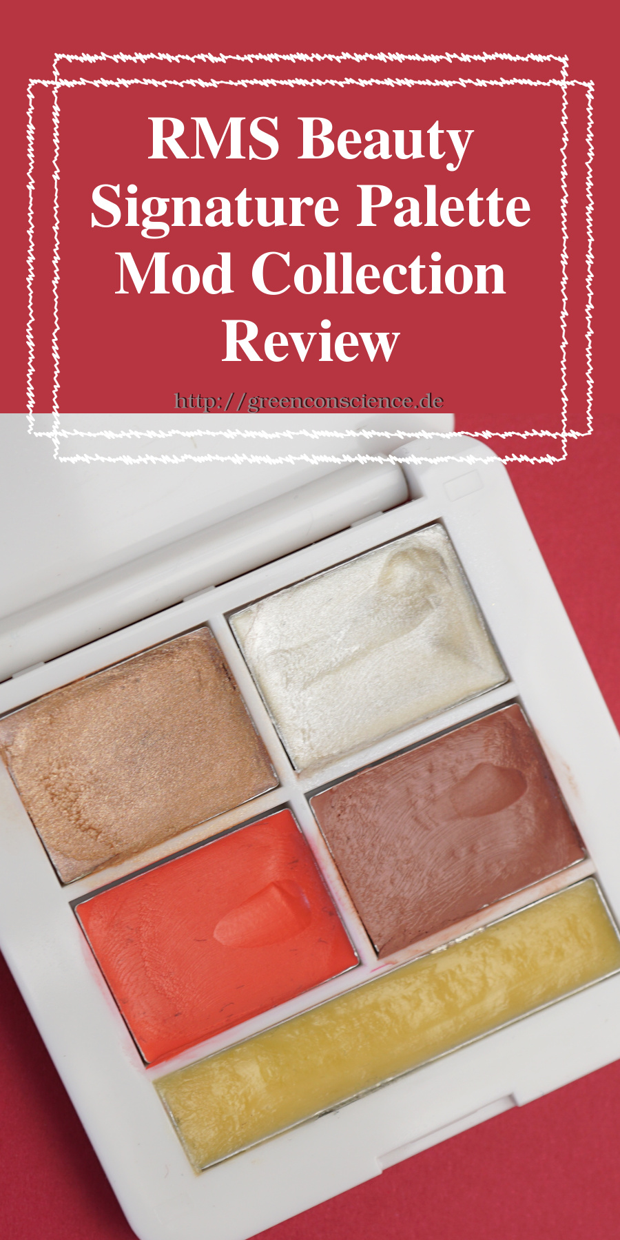 "RMS Beauty Signature Palette Mod Collection: Review auf GreenConscience.de Die RMS Beauty Signature Make-Up Palette ""Mod Collection"" enthält ""Master Mixer"", ""Living Luminizer"", ""Smile lip2cheek"", ""Spell lip2cheek"" und ""Simply cocoa lip & skin balm"". #makeup #rmsbeauty #naturkosmetik #greenconscience"